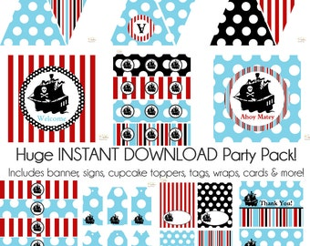 Pirate Birthday Party, Pirate Baby Shower Decorations, Pirate party decorations, Boy Birthday, Boy Baby Shower, First Birthday, BeeAndDaisy