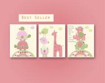 Baby girl, Nursery wall art print, Baby room decor, love birds, turtle, elephant, set of 3 8x10, match to the colors of Hayley bedding set