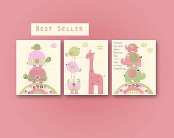 Nursery art prints, Baby girl nursery,  Kids decor, children wall art, Turtle, Owl, Elephant, giraffe, Pink, Green, Nursery wall decor print
