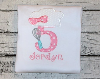 Girl's Cooking Party Birthday Shirt, Girl's Baking Birthday Shirt, Girl's Cooking Birthday Shirt