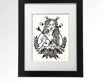 Alas My Poor Heart.  Hand pulled linocut print by Ashley Hoey.  9 x 12.