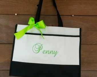 Four personalized monogrammed bridesmaids totes