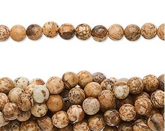 "Picture Jasper Beads 4mm - 16"" Strand - Brown Jasper, Earth Tones"
