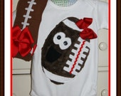 RTS - Football Team Bodysuit and Adorable Leg Warmers - Size 9/12M - Two Piece Set