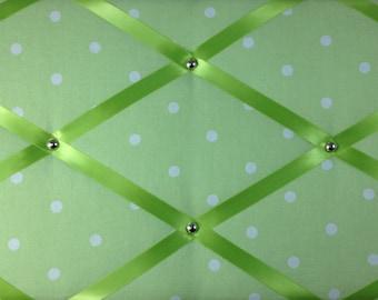 """Pin Board/Notice Board """"Pistachio Green Spot"""" Message, Memo, Bulletin, Fabric, Ribbon  Board"""