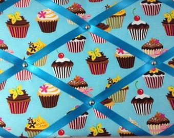 "Pin Board/Notice Board ""Cupcakes"" Message, Memo, Bulletin, Fabric, Ribbon  Board"