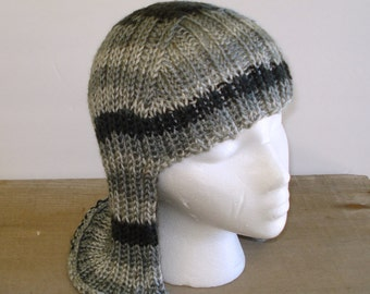 Silver Gray striped Hat Hair Knit Wig Anime Wig Silver Hair Gray Hair Grey Hair Wig