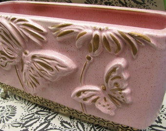Vintage Pink Ceramic Planter from the 1950's Butterflies Filigre Metal Base Mid Century Decor California Pottery Lane & Co