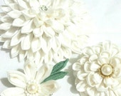 Wedding, Prom, Party. hair dress.Tsumami KANZASHI. hair clip. fabric flower japanese art.