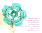 Turquoise blue flower hair clip/ brooch.Tsumami KANZASHI. hair clip. fabric flower japanese art.