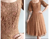 1950s Dress // Mocha Lace Party Dress // vintage 50s dress
