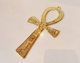 "LRG Egyptian Solid Brass Ankh Life key  6.6"" Engraved Hieroglyphics Wall Hanging"