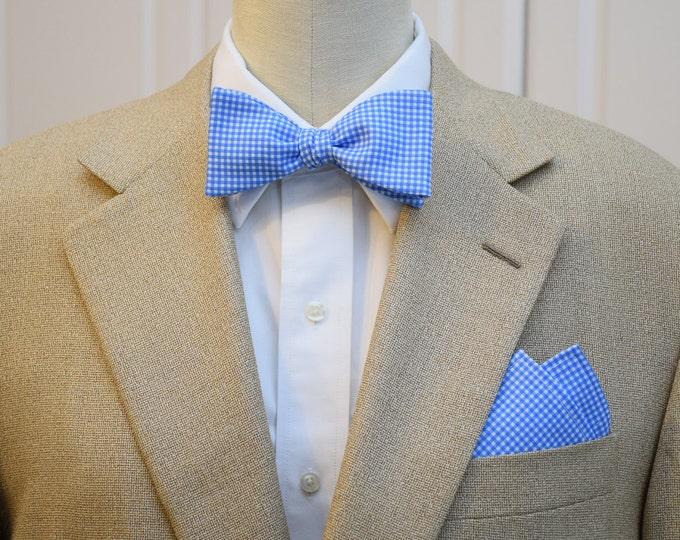 Men's Pocket Square & Bow Tie, pool blue gingham, wedding party wear, groomsmen gift, groom bow tie set, men's gift set, men's accessory