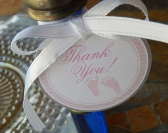 "Baby Shower Thank You Feet 2"" Favor Tags - for Mini Wine or Champagne Bottles - Mason Jar Gifts - Baby Feet Pink or Blue - (60) Printed Tags"