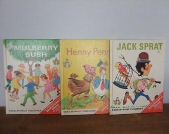 SALE! Vintage Elf Book Set: Jack Sprat, Henny Penny, The Mulberry Bush Full Size