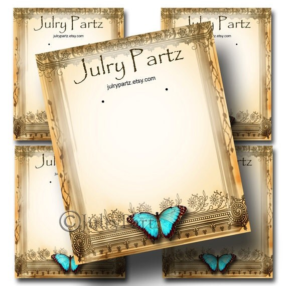 Diy Bracelet Display Card: DIY Teal Butterfly #3,Earring Cards,Jewelry Cards,Tent