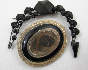 Victorian Mourning Hair Brooch & Jet Black Glass Brooch Pin - late 1800s