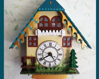 3D Cottage Wall Clock, Table Clock, Wall Hanging Clock, Wood Clock, Decorative Clock, Unique Gift, Battery Operated,