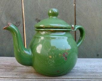 vintage green enamel tea kettle - vessel