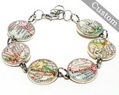 Custom Map Bracelet. You Select Six Locations. Anywhere In The World. Travel. Map Jewelry. Personalized Accessories. Women's Fashion