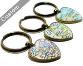 CUSTOM Heart Map Keychain. You Select Location. Anywhere In The World. One Map Keyring. Travel. Personalized.