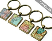 CUSTOM Map Keychain. You Pick City, State, or Country. Anywhere In The World. One Map Keyring. Gifts For Men. Travel. Personalized.
