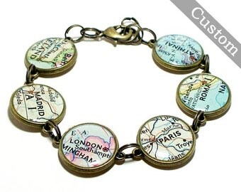Custom Map Bracelet. You Select Six Locations. Anywhere In The World. Travel. Map Jewelry.