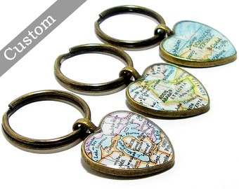 CUSTOM Heart Map Keychain. You Select City, State, or Country. Anywhere In The World. One Map Keyring. Travel. Personalized.