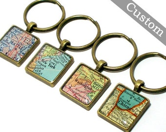CUSTOM Map Keychain. You Select Location. Anywhere In The World. One Map Keyring. Travel. Personalized Gift Ideas.
