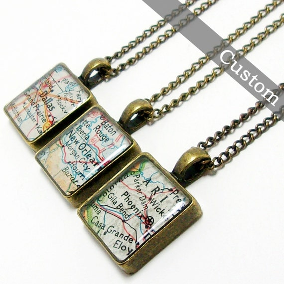 CUSTOM Square Map Necklace. You Select Location. Anywhere In The World. One Necklace. Map Pendant. Map Jewelry. Personalized.