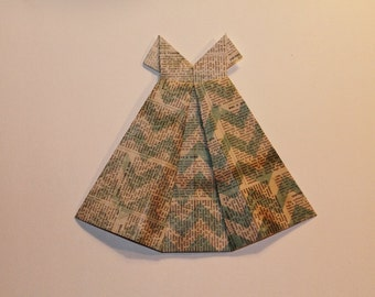 "Small Origami Dress 5"" x 5 1/2""  newsprint teal blue chevron"