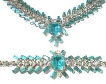 Vintage Rhinestone Jewelry Necklace & Bracelet Demi Parure with Aqua Blue Rhinestones on Silver Rhodium Plate Formal Jewelry