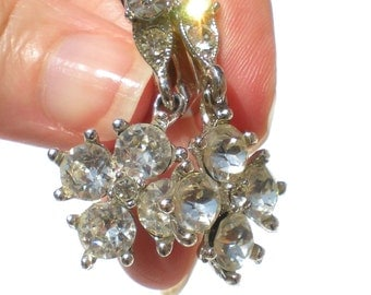 Vintage Rhinestone Jewelry Clip Earrings with Crystal Rhinestones Formal Floral Drop - Signed PAT 1967965 Bogoff