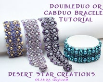 Double Duo Beadweaving Bracelet Tutorial, Super Duo RounDuo Czech 6mm Cab Bead or Honeycomb Pattern, Two hole Bead Stitching Instructions