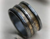 mens wedding band, rustic silver and 14K yellow gold wedding band, handmade artisan designed wide band ring, manly ring, customized ring