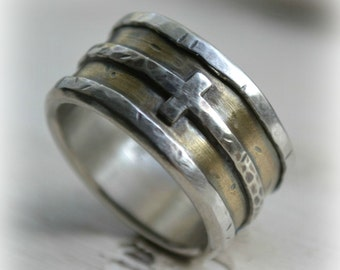 mens wedding band - rustic fine silver brass and sterling silver cross - handmade custom wide band ring, manly ring, custom stamping