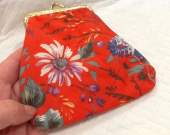 Vintage Quilted Fabric Change Purse Orange with White Purple and Blue Flowers