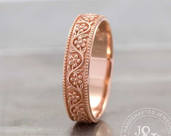 Floral Wedding Band - Floral Wedding Ring In Rose Gold - Floral Eternity Wedding Ring - Floral Gold Ring - Rose Gold Floral Ring