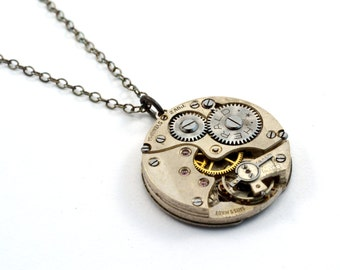 Steampunk necklace, Watch Necklace, Sterling Silver, Oxidised Silver, Watch Movement Pendant