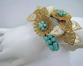 1930s Miriam Haskell Frank Hess Coil Wrap Bracelet. Aqua Turquoise Blue Beads. White Lucite Pearl Leaves Russian Filigree Gold Daisy Flowers