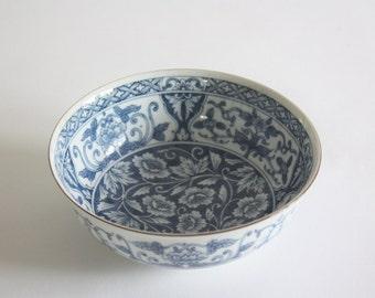 Round Vintage Blue and White Porcelain Bowl