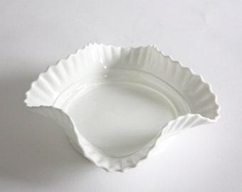 Vintage Milk Glass Dish with Ruffled Edge