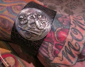 Religious man cuff bracelet mens jewelry leather one of a kind Saint Christopher travel medal
