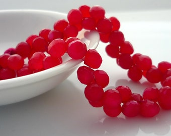 Hot pink chalcedony faceted onion briolette beads 6-7mm set of 10