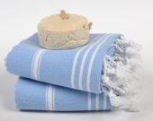 blue peshkirs, baby towels, head hand towel, small towel, tea towel, light blue white striped, kitchen towel, turkish towel