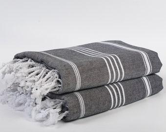sale 50% off, 2 black peshtemals, turkish towel, bath towel, father's day, for dad, beach wedding, hamam towel, destination wedding