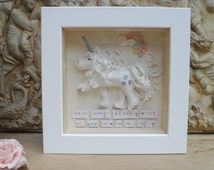 Personalised Polymer Clay Unicorn Gift with Rainbow, Children's Room, Nursery Decor