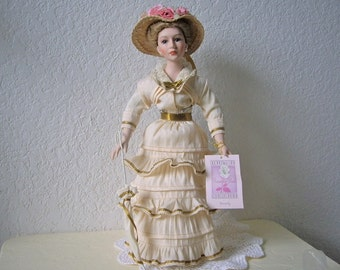 Porcelain Collectible Memories Doll, Beverly. 16 inches of Victorian Beauty