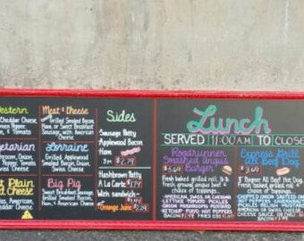 """XL Chalkboard Restaurant Menu Sign Custom 2376sq"""" 16.5sq' Breakfast Lunch OOAK pictures typography Subway Distressed Handpainted Wood WHAGN"""