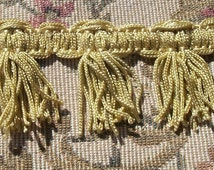 Beautiful  Antique French Passementerie Trim Vanilla Gold Silk Fringe c1880